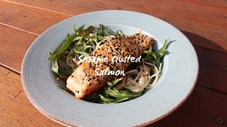 Sesame Crusted Salmon With Enoki Mushroom & Rocket Salad