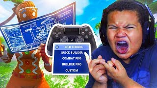 MY LITTLE BROTHER PLAYS ON OLD SCHOOL CHALLENGE!!! HE CANT BUILD 😂  **FUNNY**  FORTNITE BR