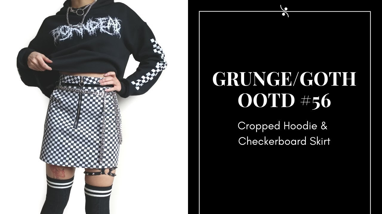 a781f970a1 Cropped Hoodie and Checkerboard Skirt ~ Raeyel's Outfits