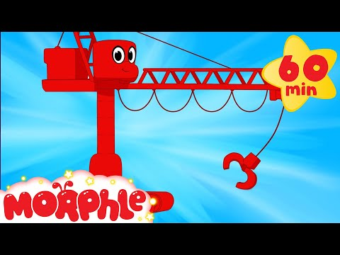 My Red Crane  (+1 hour Morphle kids videos compilation with cars, trucks, bus etc)