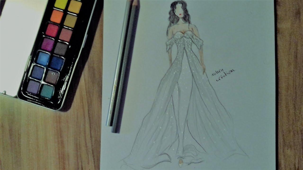 Simple Wedding Dress Drawing - YouTube