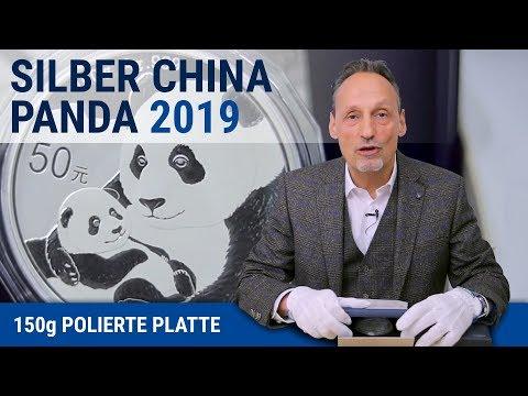 SILBER CHINA PANDA 2019 - 150g POLIERTE PLATTE SILBERMÜNZE