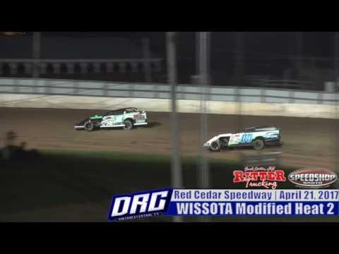 Tim Johnson & Jake Hartung Red Cedar Speedway 4/21/17 Mod Heat Race