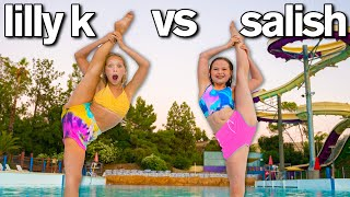 LAST TO LEAVE WATER PARK My Daughter vs Lilly K *Extreme Gymnastics Challenge*