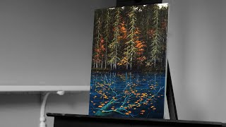 Painting a River in the Autumn Forest Landscape with Acrylics - Paint with Ryan