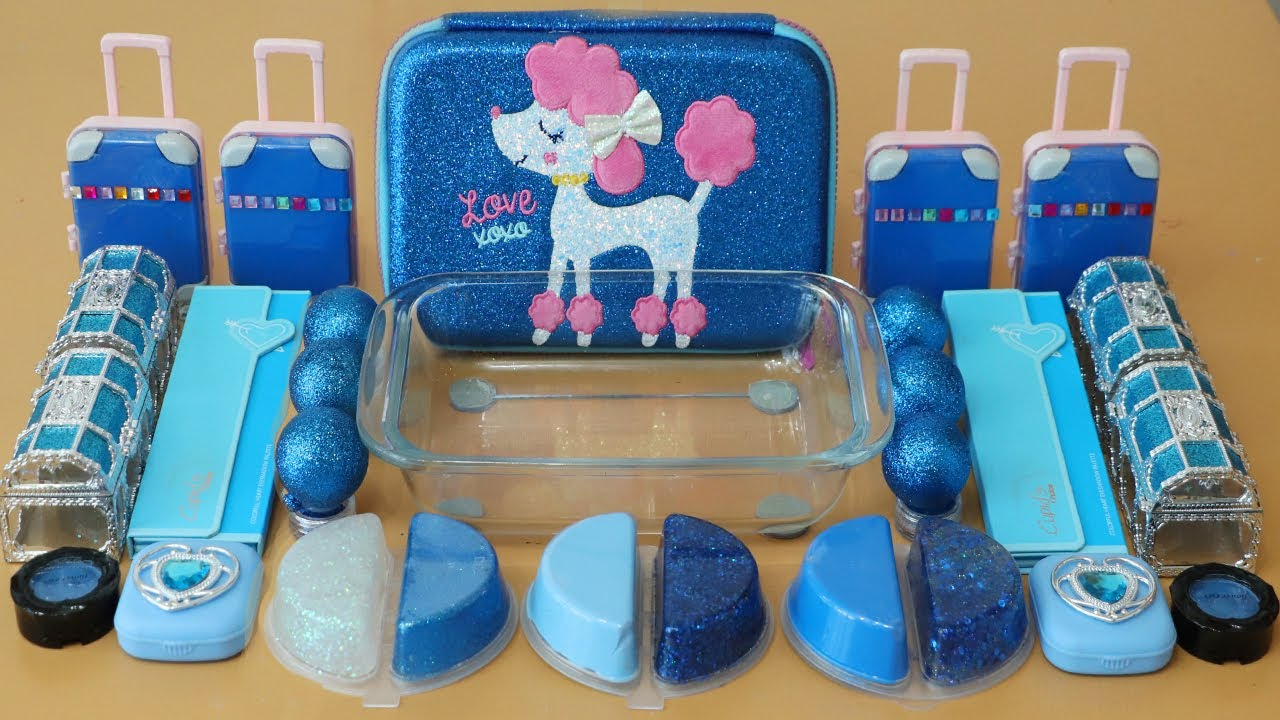 """Mixing""""Blue"""" Eyeshadow and Makeup,parts,glitter Into Slime!Satisfying Slime Video!★ASMR★"""