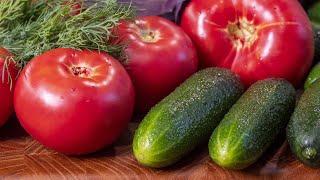 Четыре салата из огурцов и помидоров Летние и овощные салаты