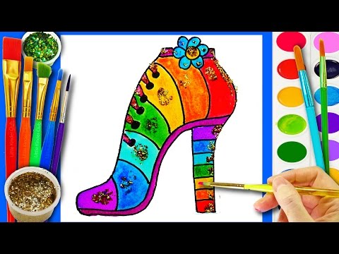 Thumbnail: Learn to Color High Heels Shoes Coloring Page for Kids to Learn Colors with Sparkle Watercolor