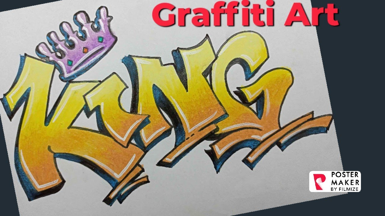How to draw Graffiti Lettering KING @Vipul Swami Arts