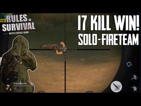 SOLO IN FIRETEAM WIN! 17 KILLS + GHILLIE SUIT SNIPER KILLS! (Rules of Survival)