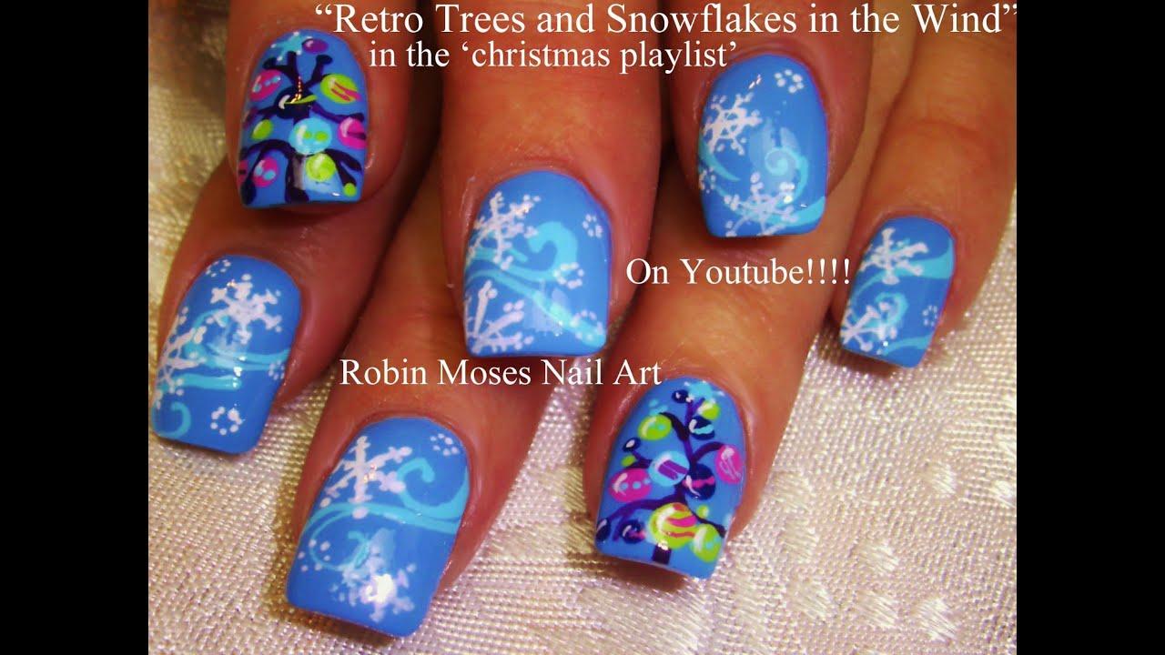 Beautiful Blue Snowflake Nails With Christmas Tree Nail Art Youtube