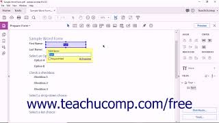 Acrobat Pro DC Tutorial Creating Text Fields - Adobe Acrobat Pro DC Training Tutorial Course