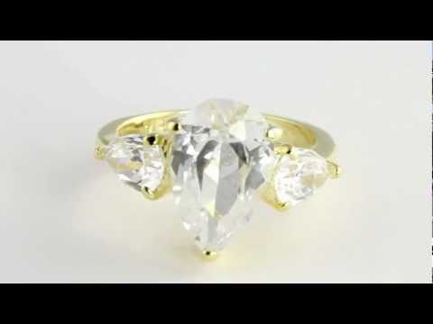 18k Gold over Sterling Silver DiamonUltra™ Cubic Zirconia Ring. http://bit.ly/377csoh