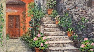 Old World Stone Stairs Acrylic Painting LIVE Tutorial