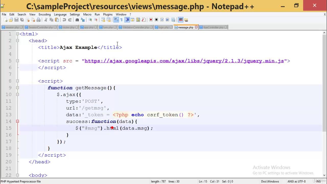 22 More on Ajax Laravel PHP Framework