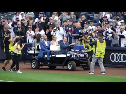 Derek Jeter Driven onto field at Jersey Retirement Night Ceremony Live