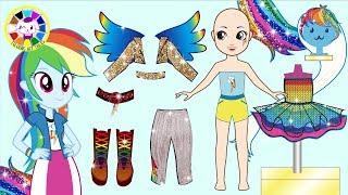 Paper Doll My Little Pony Rainbow Dash Dress up like Equestria Girls Rainbow Rocks