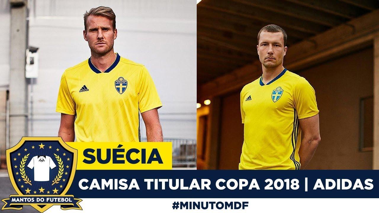 Camisa titular da Suécia Copa do Mundo 2018 Adidas - YouTube 5931af462062d