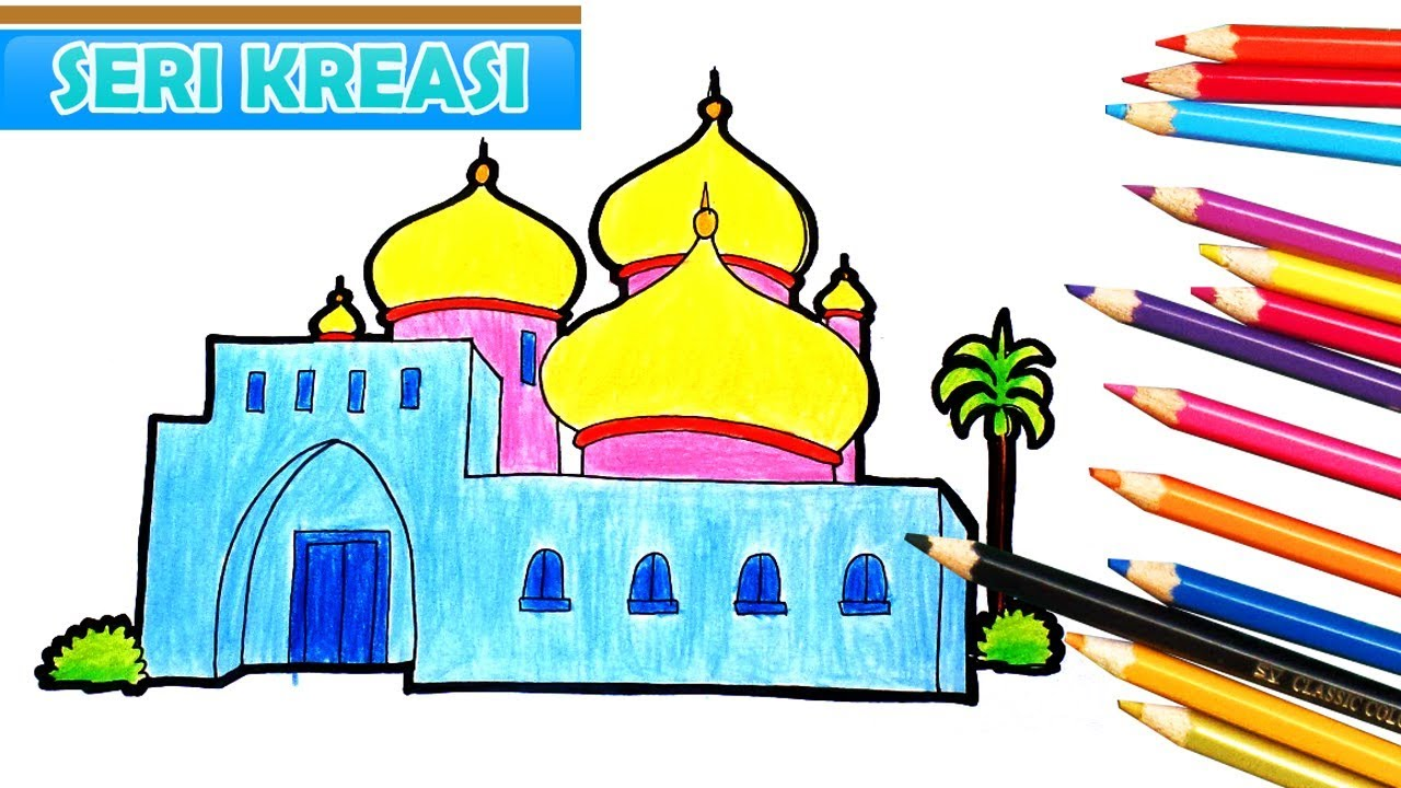 Cara Mewarnai  Gambar  Pemandangan  Masjid  Kartun Anak