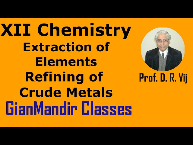 XII Chemistry | Extraction of Elements | Refining of Crude Metals by Gaurav Sir