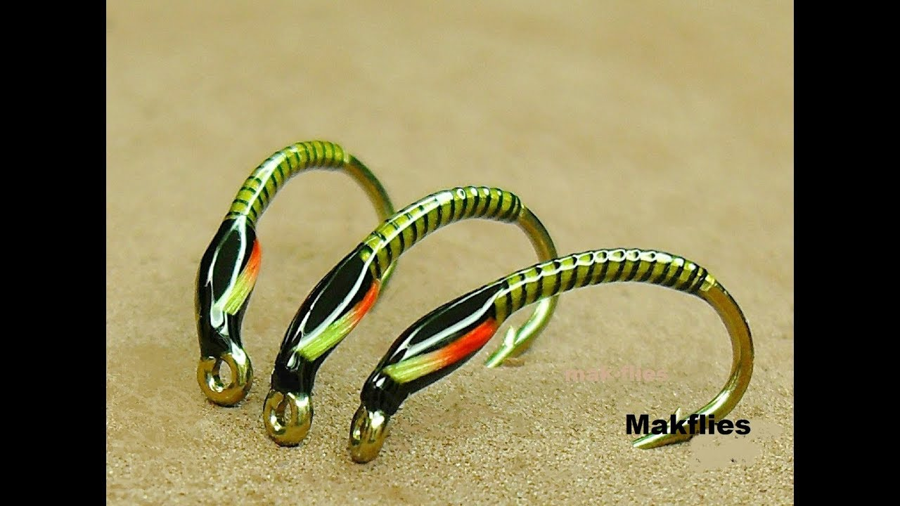 6 x Epoxy Buzzer Olive with Yellow Cheks Fly Fishing Trout Flies