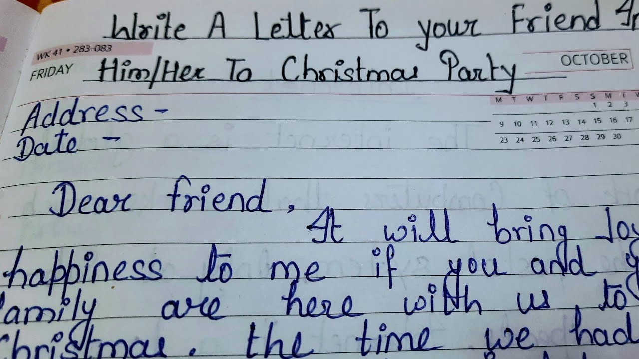 Letter To Your Friend to invite him/her to Christmas  Celebration/Party/letter writing/letter writing