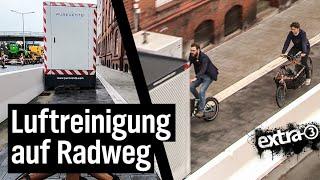 Realer Irrsinn: Luftreinigungsgeräte auf neuem Radweg in Kiel