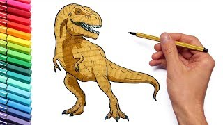 Drawing and Coloring T-Rex - color page With Jurassic Park Dinosaur Tyrannosaurus