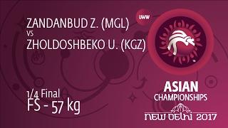 1/4 FS - 57 kg: Z. ZANDANBUD (MGL) df. U. ZHOLDOSHBEKO (KGZ) by TF, 15-4