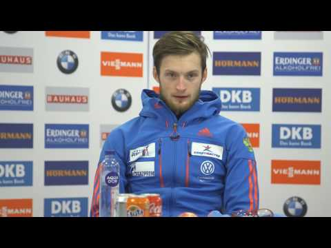 Babikov, Tsvetkov and Martin Fourcade talk to press after after Östersund Men's Pursuit