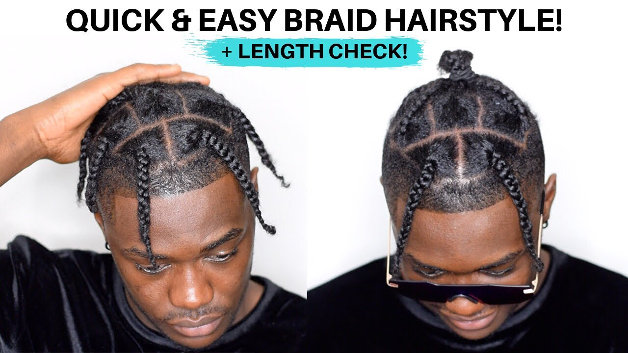Men S Braid Hairstyle For Black Hair Quick Easy For Lazy Days Youtube