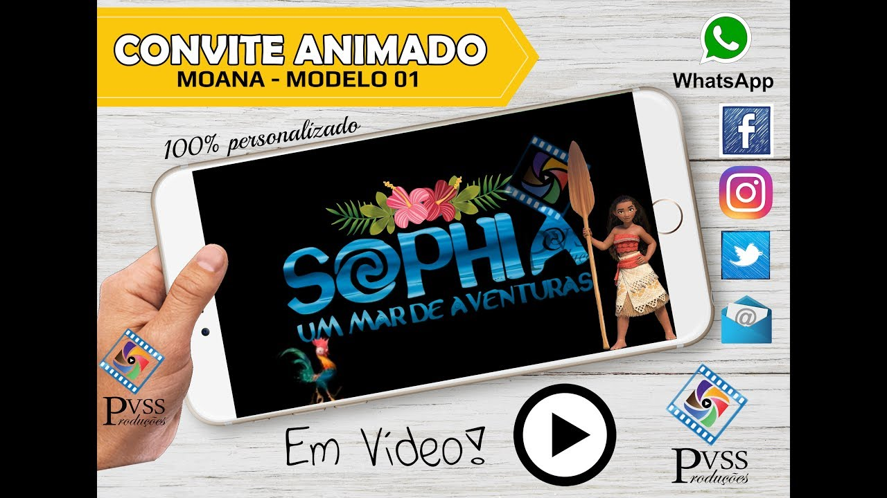 Video Convite Virtual Animado Moana Exclusivo