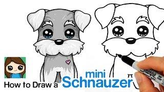 Cómo Dibujar un Cachorro Schnauzer Miniatura Fácil | Perro de dibujos animados
