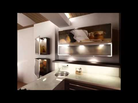 Моделирование кухни с панорамной фотопечатью на фасадах