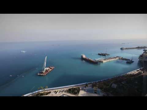 Monaco land extension, February 2019, time lapse, construction site