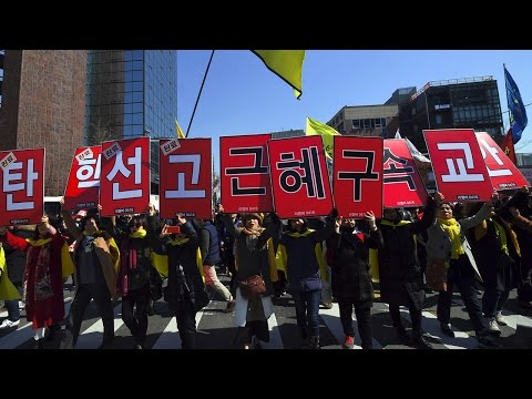 South Korean protesters welcome President Park's impeachment