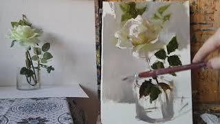 Роза. Живопись маслом. Как нарисовать розу.