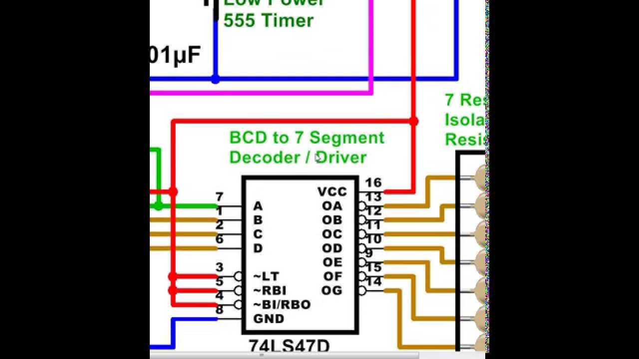 Digital Counter 0 To 9 Driving A 7 Segment Display 555 Timer Stopwatch With 7segment Schematic Bcd Decade Resistance 0k 5k