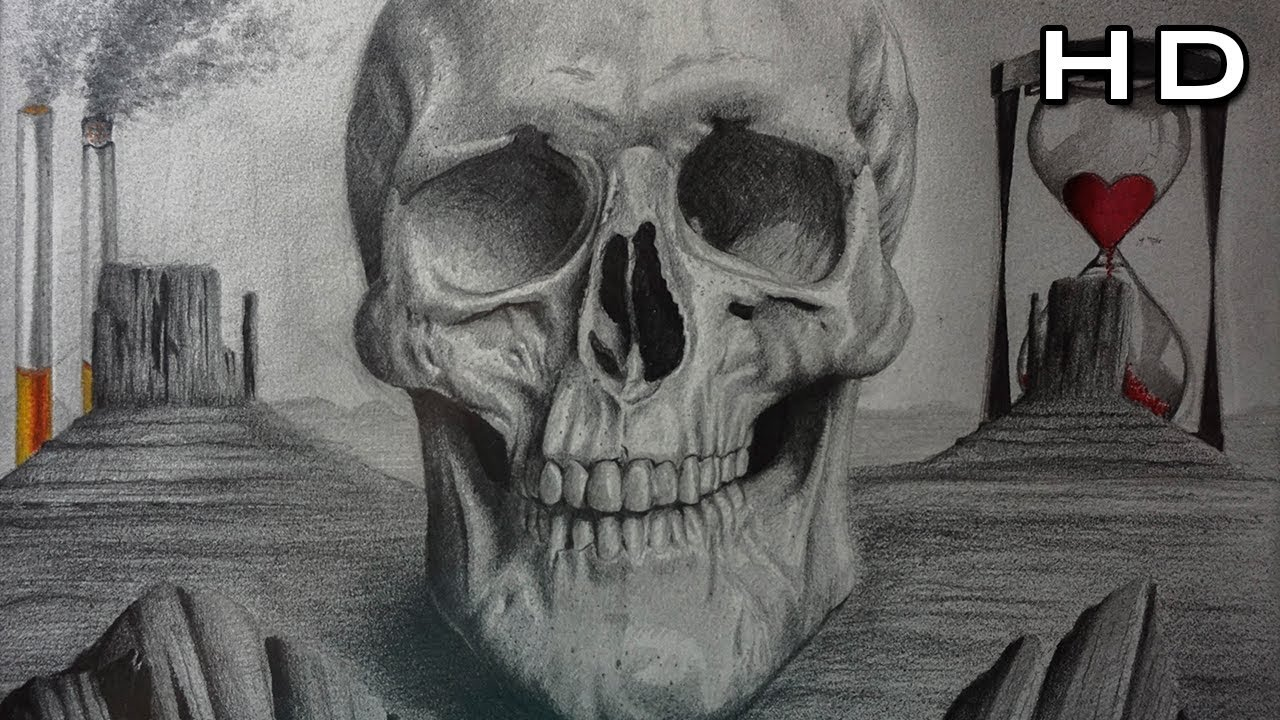 How to Draw a Realistic Skull with Pencil Step by Step ...