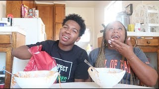 SPICY RAMEN NOODLE CHALLENGE W/ MY MOM!! WITH NO WATER!! I ATE DOG FOOD!!