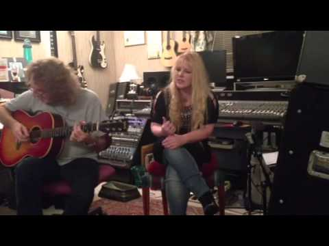 Angie Beck in the studio with Michael Spriggs