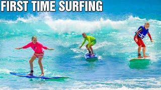 Kids Surfing HUGE Waves in Hawaii!  EPIC WIPEOUTS!
