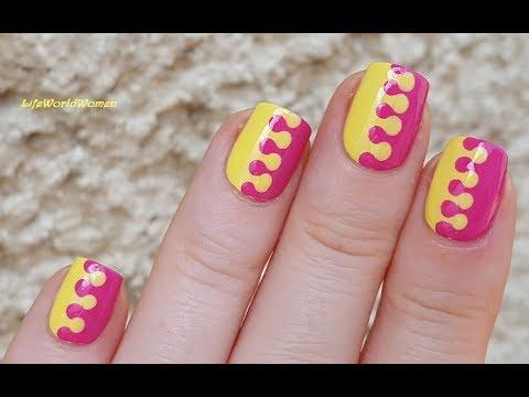 Summery Pink Yellow Dotticure Nail Art Youtube