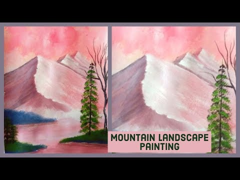 A MOUNTAIN Landscape Painting Tutorial Step by Step/ Painting for Beginners (2019)