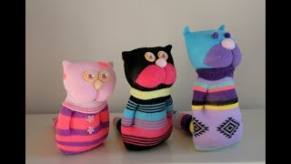 Adorable Handmade Sock Kittens -- DIY Stuffed Sock Dolls