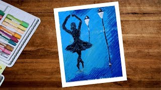 How To Draw Dancing Girl Drawing With Oil Pastel Step By Step | Ballet Dancer Pastel Drawing