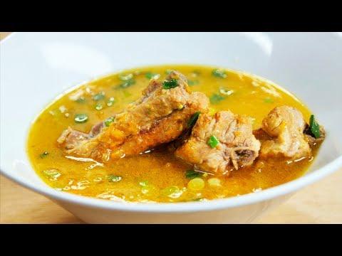 Тыквенный суп с на свиных ребрах. Овощной суп.