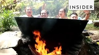 Hot Bath Cooks Over Open Flame