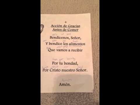 Grace Before Meals Prayer In Spanish