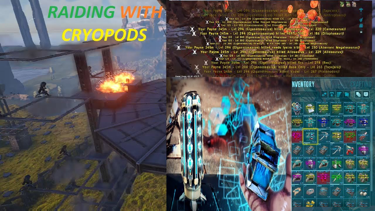 RAIDING WITH CRYOPODS!!! SKYNET VS SERVER 38 ARK SURIVAL EVOLVED 6MAN